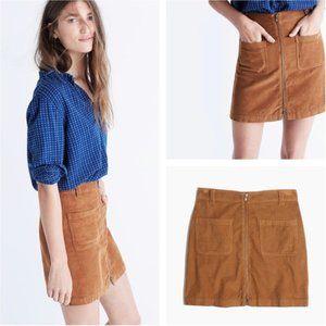MADEWELL | Zip Front Mini Corduroy Skirt Mustard